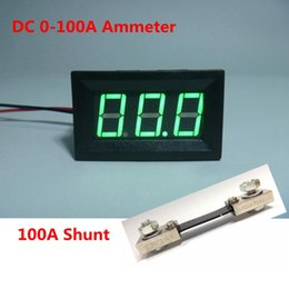 Wholesale Dc Power Supply Amp - Wholesale-Green Led Display Digital Ammeter DC 0-100A Current Ampere Amp Meter Power Supply DC 4.5-28V with 100A 75mV Shunt Resistor