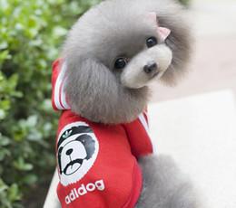 Wholesale Cute Cheap Pet Clothes - 6 Color Cute Dog Pet Warm Soft Coats Sports Puppy Dog Hooded Cheap Cute Pet Jumpsuit Clothes Pet Supplier Mix Order 25PCS LOT