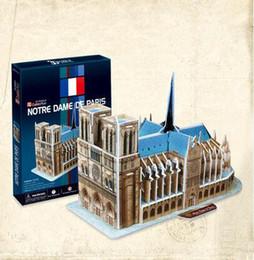 Wholesale 3d Puzzles Paris - The French Notre Dame DE Paris 3D paper model stereo puzzle models toys