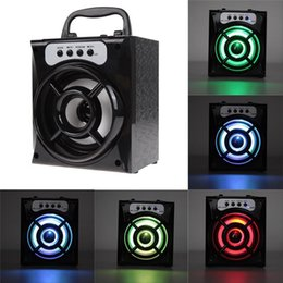 Wholesale Radio Sd - Original MS-132BT Mini Portable Wireless Bluetooth Square Speaker Support FM Radio LED Shinning TF Micro SD Card Music Playing