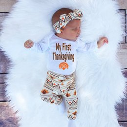 Wholesale 4pcs Girl Baby Kid - newly baby retro Sets Newborn Toddler Infant Kids rompers+pants+hat+hand band 4pcs clothes children Boy girl Clothing fashion Outfits top