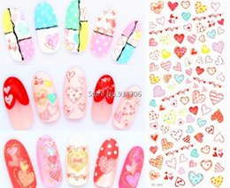 Wholesale Nail Water Decals Cute - Wholesale- DS063 DIY Water Transfer Foils Nail Art Sticker Fashion Nails Colorful Love Manicure Decals Minx Cute Nail Decorations Tools