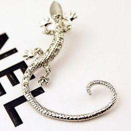 Wholesale New Gecko - Cip On Earrings 2016 New Hot Fashion Rhinestone earrings ear Cuff, Luxury elegant rose gold exaggerated gecko lizard stud earrings