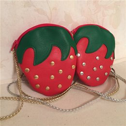 Wholesale Cute Baby Bags Pink - Girls purse kids cute rivet PU leather bag baby girls strawberry princess handbags children one shoulder children Mini messenger T4844