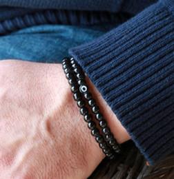 Pulsera de obsidiana negra online-SN0047 6mm pulsera de piedra de obsidiana negra doble abrigo pulsera para hombre ojo de piedra pulsera con cuentas amuleto hombres pulseras