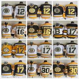 Wholesale adam oates - Vintage Boston Bruins 12 Adam Oates 16 sanderson 17 30 Gerry Cheevers Milan Lucic Yellow White Black NHL Ice Hockey Jerseys