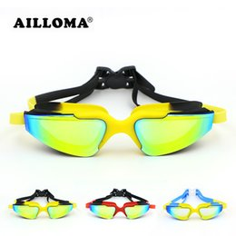 Wholesale Race Mirrors - AILLOMA Professional Electroplated Waterproof Glasses Adult Anti-fog UV400 Protection Eyewear Coating Mirrored Swimming Goggles