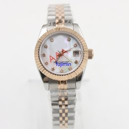 Wholesale Ladies Model Watches - Ladies automatic mechanical watch DAY Pearl face 26mm luxury watch woman AAA model aaa replicas watches royal oaks JUST 79