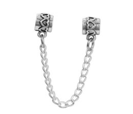 Wholesale Charm Stops - On Sale 10pcs Silver Flower Stop Bead Safety Chain European Charms Silver Beads For Pandora Snake Chain Bracelet DIY Jewelr
