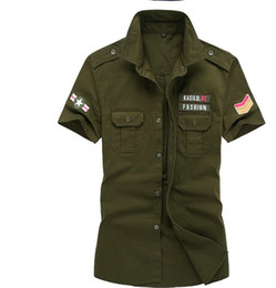 Wholesale 6xl mens dress shirt - Dress Shirts 100% Cotton Mens Cargo Shirt Men Casual Shirt 6XL Army Shirt Men Blue Uniform Military Shirts Men with Epualets