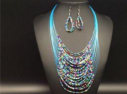 Colar de borra de seda on-line-Mulheres Bohemian Bead silk Tassel MultiLayer declaração colar e brinco conjuntos de jóias de festa de casamento jóias KX