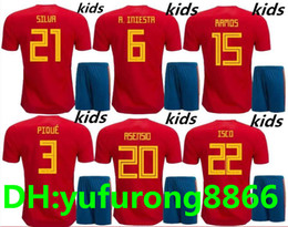Wholesale Spain Soccer Jersey Kids - Spain kids Jersey 2018 ISCO PIQUE SERGIO RAMOS A. INIESTA M. ASENSIO THIAGO MORATA home soccer shirt Football uniforms sales Spain kits