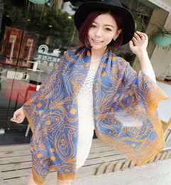 Wholesale Korean Scarves Wholesale - Fashion women printed pashmina Korean style Persian lines shawl 170*80 cm warm Oversized scarves