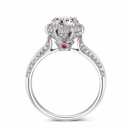Wholesale Ruby White Diamond Ring - Vecalon Luxury Fashion Jewelry ring Ruby Simulated diamond Cz 925 Sterling Silver Engagement wedding Band ring for women