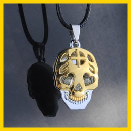 Wholesale Jewelry Crystal Skull Necklace - Fashion Stainless Steel Crystal Skull Pendant Necklaces Punk Style Nightclub HIP-HOP Jewelry Gold Necklace With Rope Chain 20pcs lot