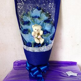 Wholesale Teddy Bears Bouquets - Handmade Christmas Gift artificial Rose teddy bear cartoon bouquet gift ideas Xmas Thanks giving New Year  Valentines day gift