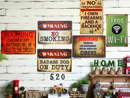 Wholesale Bbq Signs - Wholesale- Vintage Tin signs Gun Warning Signs Dad's BBQ Free WIFI No Shooting Coffee Bar Restaurant Shop Decorative