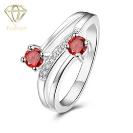 Wholesale Unique Rings For Cheap - Cheap Rings for Women 4 Color Styles New Arrival Silver Plated Unique Design Luxury Double Crystals Rings Fashion Jewellery
