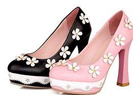 Deutschland Südkorea Vi neue Prinzessin süßen flachen Mund runden rosa Blüten im Frühjahr und Sommer hochhackigen Schuhen supplier heels shoes korea Versorgung