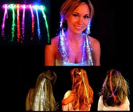 Wholesale Girls Light Up Barrettes - Fashion Girls LED hairline Colorful light up Braids Luminous LED hair accessory Masquerade Festival Props Light Up Fiber Optic Hair bundles