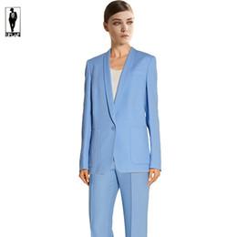 Wholesale 42 Long Suit Blue - UR 42 Sky Blue Custom Handmade Bussiness Formal Elegant Women Suit Set Blazers Pants Office Suits Ladies Pants Suits Trouser Suits Handmade