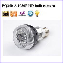 Wholesale Dvr Ip Vision - 2015 NEW P2P IP Wifi Mini Bulb Lamp Camera Full HD 1920*1080P H.264 Hidden Bulb DVR Camera 24 LED IR Night Vision Motion Detection PQ240A