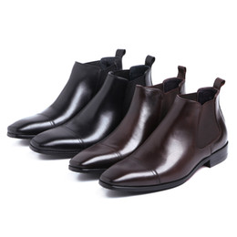 Wholesale Wedding Boots For Men - New Arrival Comfortable Fashion High Quality Genuine Leathe Slip-On Spring Autumn Flat Ankle Boots For Men