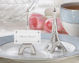 Wholesale Eiffel Tower Place Card Holders - Wedding Favors Eiffel Tower Name Place Card Holder Stand Memo Table Marker Clips Decoration Wedding Birthday Party Favors Gift