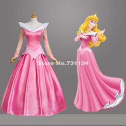 Wholesale Women Sleeping Beauty Costume - 2016 Attractive Adult Pink Sleeping Beauty Princess Dress Princess Aurora Dress Costume Stage Performance Cosplay Costumes