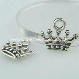Wholesale Crown Pendant Necklace Wholesale - 14692 50PCS Alloy Antique Silver Vintage Mini Cute Crown Pendant Charm Jewelry