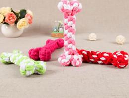 Wholesale Multi Color Rope - Dog Toys Chews bone ropes pet dog toys Color bone type Color bone type Pet Puppy Chew toy 17 cm