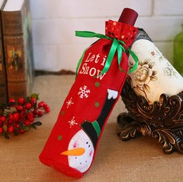 Wholesale Old Wine Bottle - Christmas wine set gift bag Christmas decoration items creative embroidered old man snowman with a bottle sleeve FP01