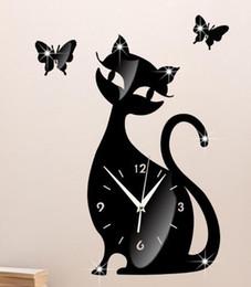 Adesivo a campana online-fai da te specchio orologio da parete camera da letto soggiorno parete orologio muto campana del fumetto carino gatto nero adesivi murali