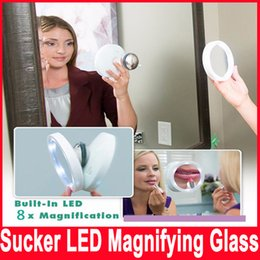 Wholesale Magnifying Lighted Makeup Mirror - New Magnifying Makeup Mirror Swivel Brite Makeup LED Lighted Edge 8X Magnification Lighted Magnetic Mirror 360 Pivoting Action