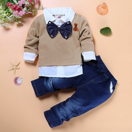 Wholesale Cheap European Clothes - baby boy long sleeves vestidos two-piece bow tie shirts+jeans formal style tuxedo set for flower boy party clothing set cheap kids clothes