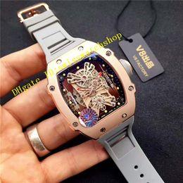 Wholesale Black Titanium Watch - Top quality Luxury Brand Rose Gold Sapphire Crystal TOURBILLON Automatic Sports Mens Wristwatch Grey Rubber Strap RAFAEL NADAL Mans Watches
