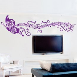 Wholesale Musical Butterfly Wall Vinyl - DIY Romantic Musical Notes Purple Home Decor Wallpaper Art Mural Wall Decals Home Decoration pegatinas Butterfly Wall Stickers