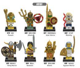 Wholesale Toy Soldiers Buildings - 8pcs set X0161 Action Figure Ancient Egyptian Soldiers Pharaoh Atlantis Mummy Viking Warrior Building Blocks Puzzle Kids Toys Gift