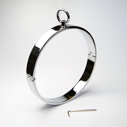 Wholesale Halloween Bondage Costume - Stainless Steel Locking Slave Collar Ring Bondage Restraint Fetish Fancy Costume #R2