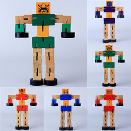 Wholesale Educational Wood - Wood Tangles with a rubber Transfomers Robot wooden Toys Educational kids toys Model Building robots Children's Gifts Boy's best love