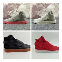 Wholesale Green Outdoor Christmas Lights - High-quality Kanye West 750 Boots Tubular Invader Strap Running Shoes Christmas gift Sesame Men Sneakers Boost Sport Shoes Size 40-46
