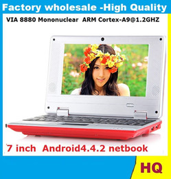 Wholesale Netbook Computer Laptop Notebook - 7 inch Android 4.4.2 MINI laptop netbook VIA 8880 Cortex A9 1.2GHZ HDMI WIFI Camera 512MB 4GB USB Mini Notebook Android computer