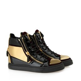 Wholesale Metal Buckled Sneakers - 2018 luxury men casual shoes mens trainers brand new women sneakers with Metal decoration rivet Patent leather Double zipper high top shoes