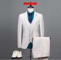Wholesale Creamy White - New Style Creamy-white Color Plain 3 Piece Business Suit Coat Pant Design Men Wedding Suits L-52037