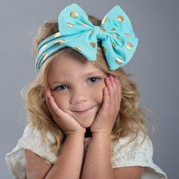 Wholesale Polka Dot Elastic Ribbon - baby polka dot headbands girls boutique hair bows children big bow hair accessories kids cotton elastic bands spot christmas headwear