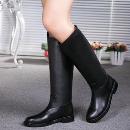Wholesale Knee High Waterproof Snow Boots - 100% Real Leather Women BOOts Luxury Quality Designer Womens shoes Waterproof outdoor flat Motorcycle Boots new Brand Winter Snow boots
