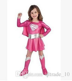 Wholesale Super Man Costumes For Girls - children hot pink superman girl dress cosplay party superhero girl costume halloween costumes for girl Super girls costume DDA2925 80sets