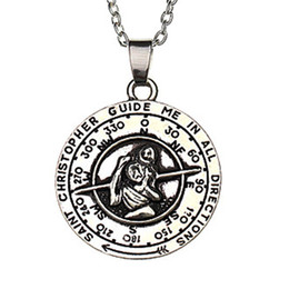 Wholesale Inspirational Charms - 2016 movie patron saint of travellers: inspirational st christopher necklace pendant religious charm Agios Holiday gift ZJ-0903410