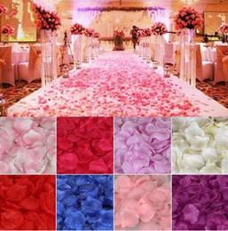 Wholesale Colorful Flower Wedding - Fiancee 1000pcs Colorful Rose Petals Artificial Flower Wedding Party Vase Decor Bridal Shower Favor Centerpieces Confetti