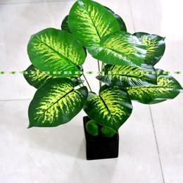 Tecidos de látex on-line-Desktop 48 cm de Látex 12 Filial Tecido Artificial Evergreen Planta Árvore Verde Casamento Casa Decoração Da Igreja Sem Vaso F5090